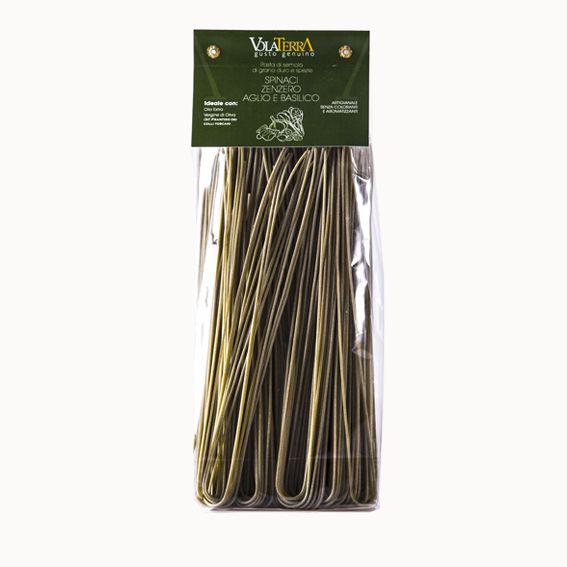 Spaghetti VolaTerrA zenzero, spinaci, aglio e basilico
